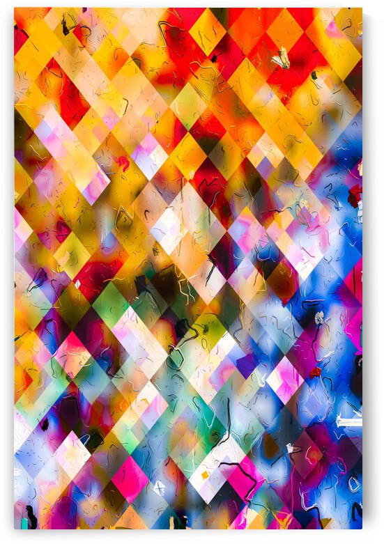geometric square pixel pattern abstract background in orange blue purple red by TimmyLA
