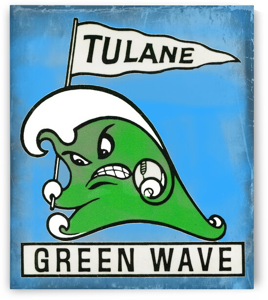 Vintage Tulane Green Wave Art by Row One Brand