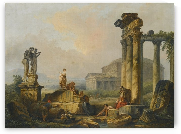 A landscape with shepherds and shepherdesses among ancient ruins, with the statue of Castor and Pollux and the Pantheon beyond by Hubert Robert