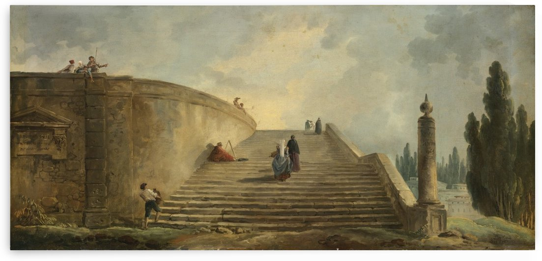 A Grand Staircase by Hubert Robert