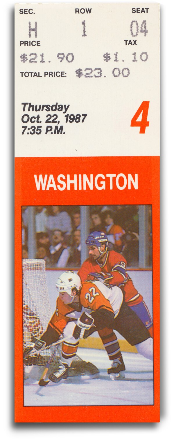 1987 Washington vs. Philadelphia Flyers Ticket Canvas by Row One Brand