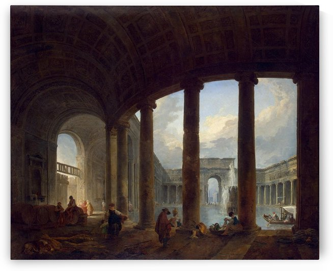 Pool Surrounded by a Colonnade at Villa Giulia by Hubert Robert