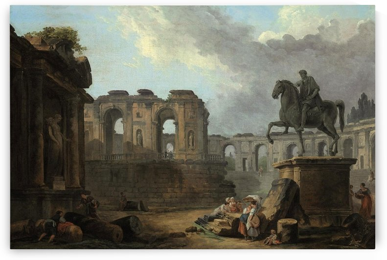 A Roman capriccio with washerwomen by the Statue of Marcus Aurelius by Hubert Robert