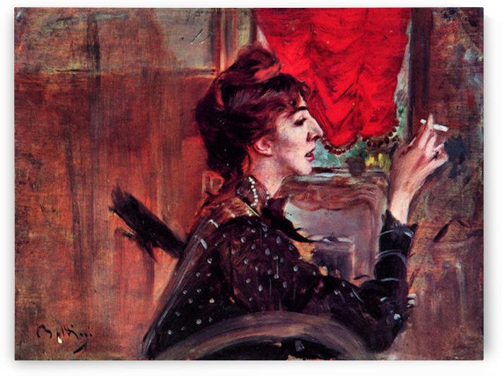 The red curtain by Giovanni Boldini by Giovanni Boldini
