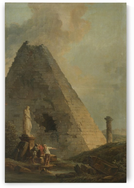 A Capriccio With The Pyramid Of Cestius And Travellers In An Italianate Landscape by Hubert Robert