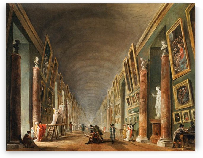 Painters in a visit at Louvre. 1790 by Hubert Robert