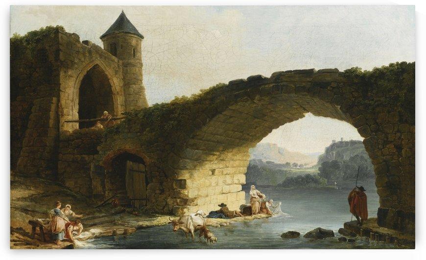 A Capriccio River Landscape With Washerwomen Near a Ruined Bridge by Hubert Robert
