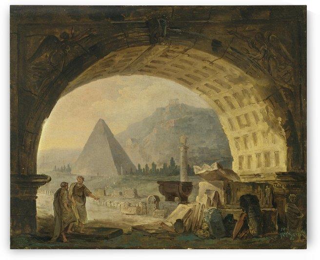 View of antiquities under an arch by Hubert Robert