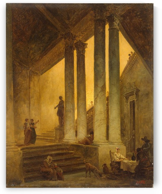 Staircase with Columns by Hubert Robert