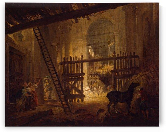 Stable in Ruins of Villa Giulia by Hubert Robert