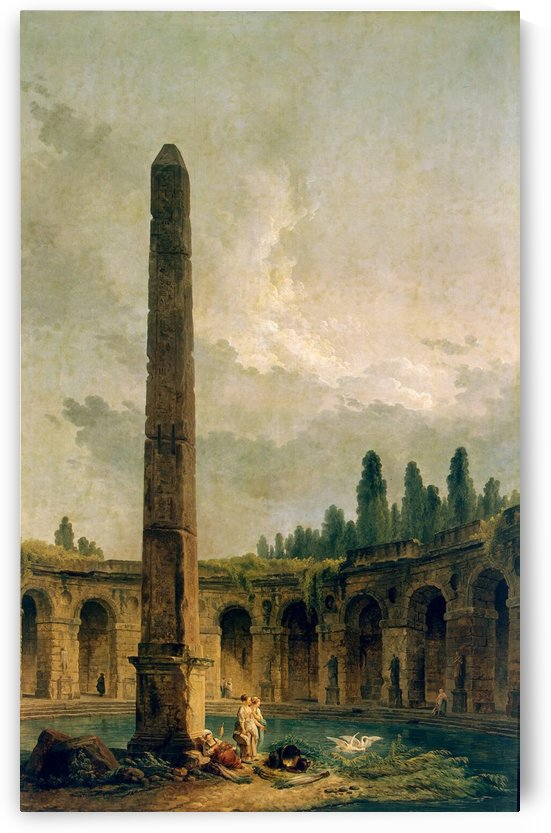 Decorative Landscape with an Obelisk by Hubert Robert