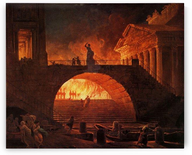 The fire of Rome by Hubert Robert