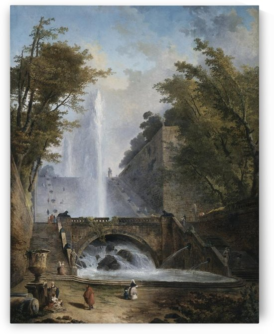 Stair and Fountain in the Park of a Roman Villa by Hubert Robert
