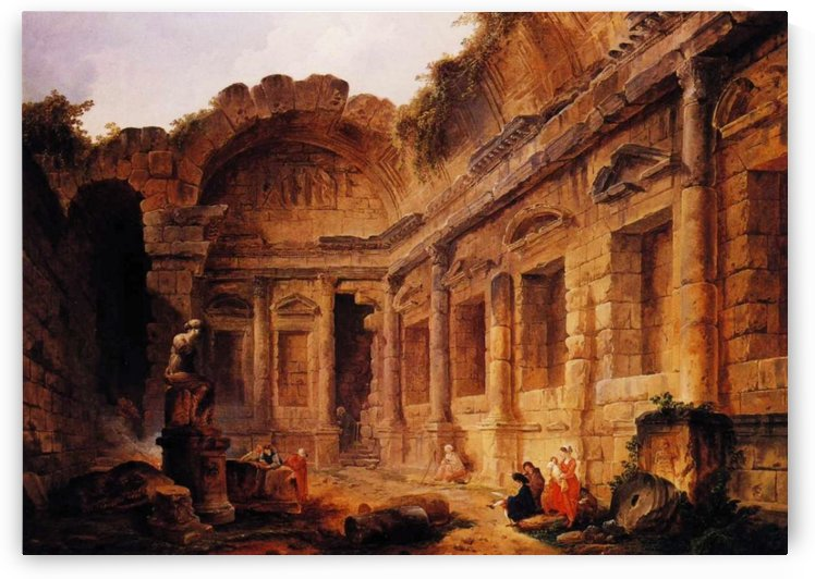 Interior of the Temple of Diana at Nimes by Hubert Robert