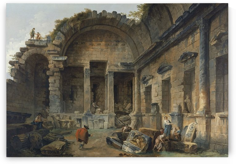 Art objects among antic ruins by Hubert Robert