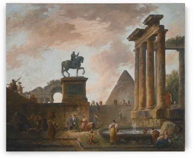 A Capriccio with Troubadours and Washerwomen by a Basin among Roman Ruins, a Pyramid beyond by Hubert Robert