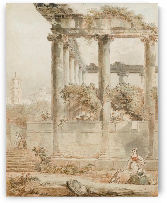 Landscape with the Temple of Saturn by Hubert Robert