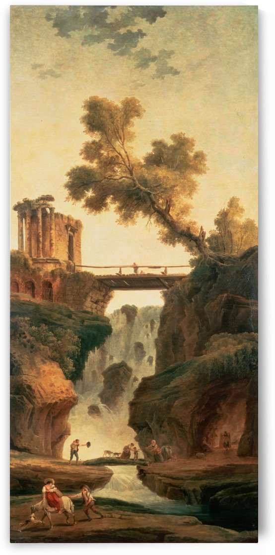 Landscape with a Waterfall and figures by Hubert Robert