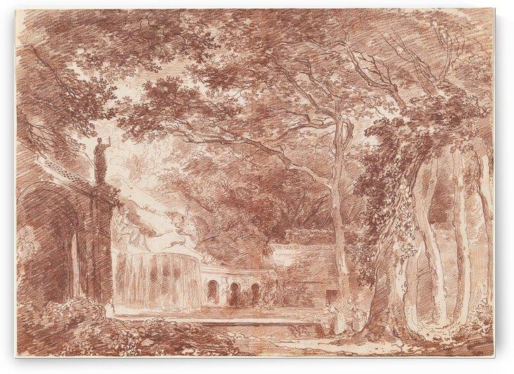 The Oval Fountain in the Gardens of the Villa di Este, Tivoli by Hubert Robert