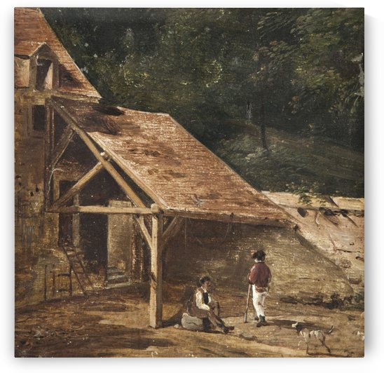 Figures at Stable Entrance by Hubert Robert