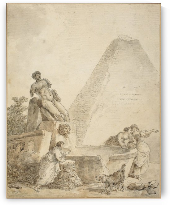 A Roman Capriccio with the Pyramid of Gaius Cestius by Hubert Robert