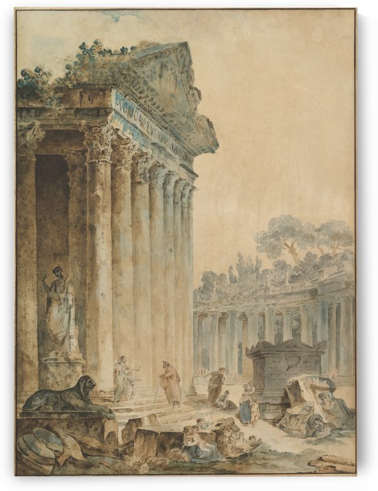 Capriccio with an Ancient Temple by Hubert Robert
