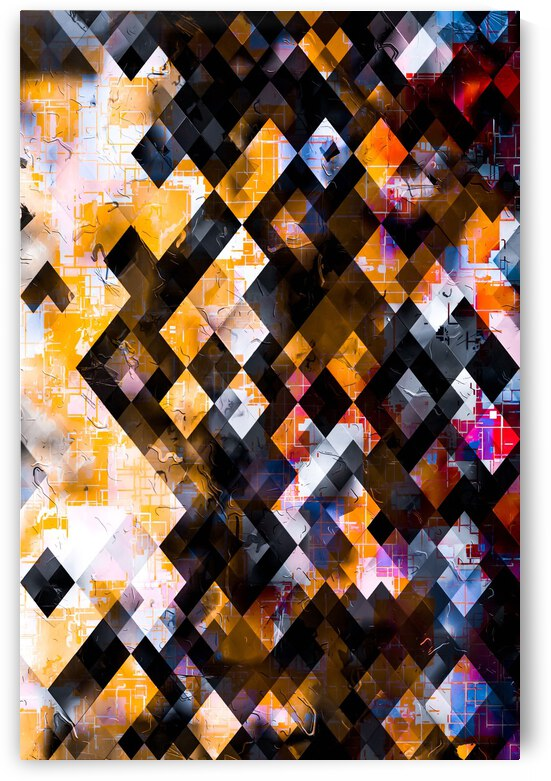 geometric square pixel pattern abstract background in orange pink blue by TimmyLA
