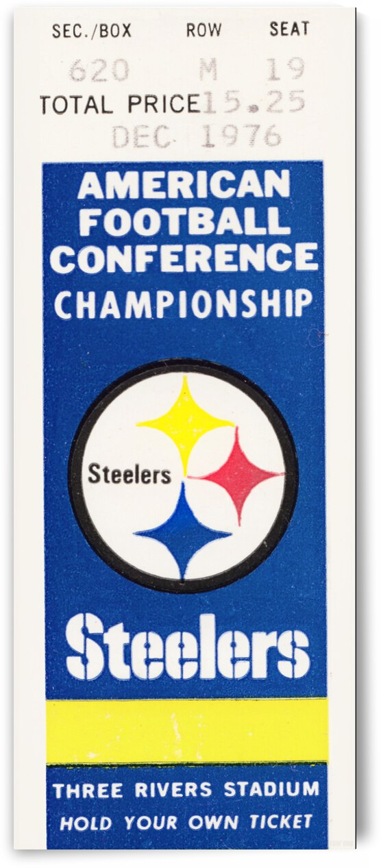 1976 Pittsburgh Steelers Ticket Stub Canvas by Row One Brand