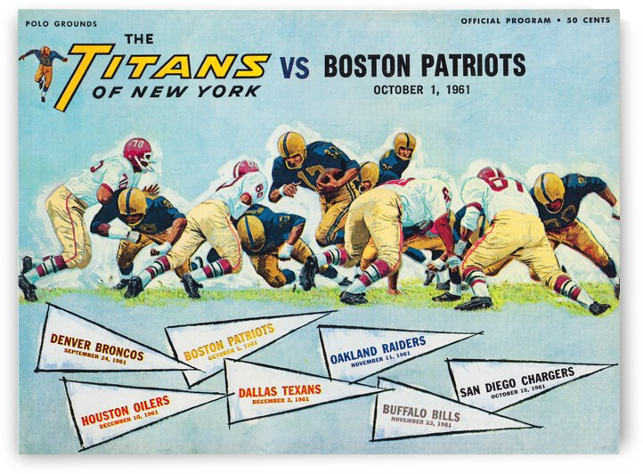 1961 New York Titans vs. Boston Patriots by Row One Brand
