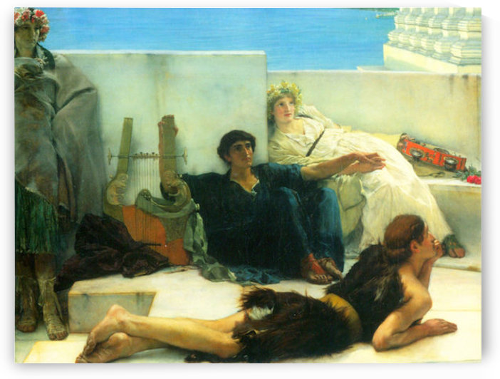 A reading of Homer, detail -1- by Alma-Tadema by Alma-Tadema