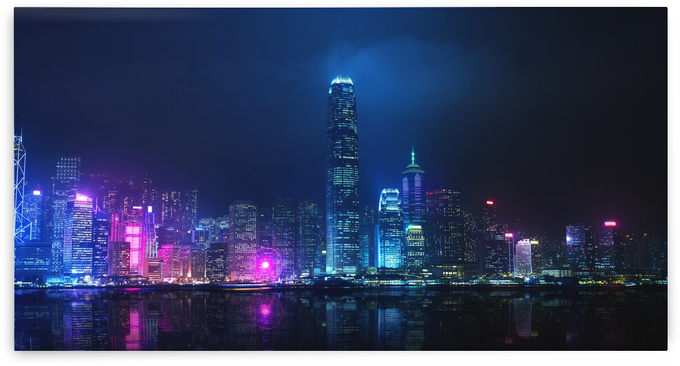 Night view of Victoria Harbor Hong Kong by Canvapro