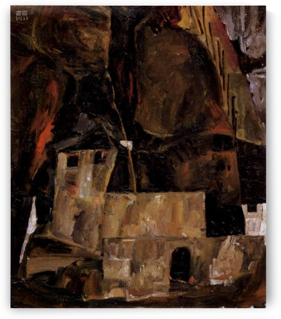 Wall and house and terrain with fence by Schiele by Schiele