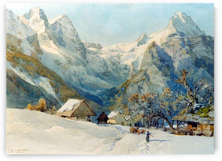 Winter landscape with figures by Frederik Marinus Kruseman