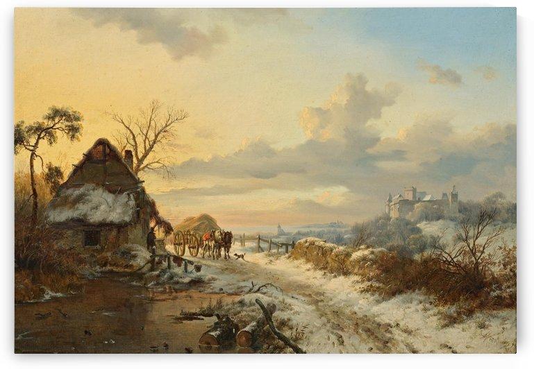 Winterlandschap met paarden en karren by Frederik Marinus Kruseman