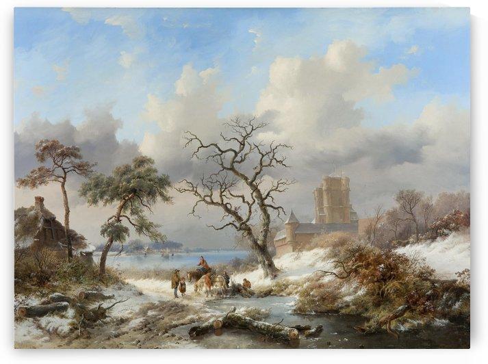Winterlandschap met figuren by Frederik Marinus Kruseman