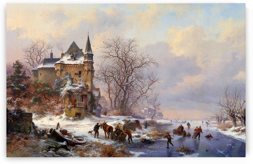 Winterlandschaft mit Eisläufern vor einem Schloss by Frederik Marinus Kruseman
