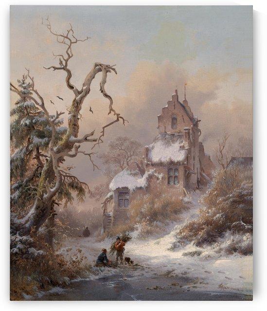 Winterlandschaft mit Reisigsammler by Frederik Marinus Kruseman