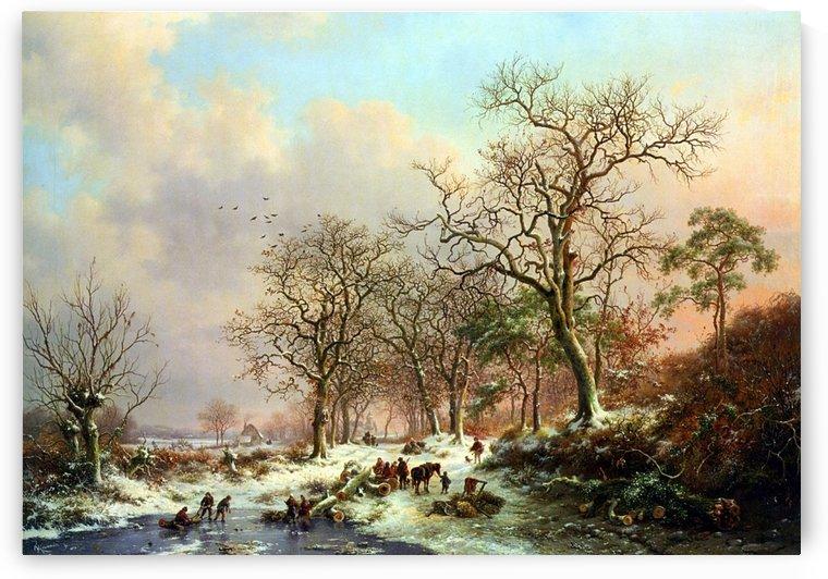 Winter landscape with figures near lake by Frederik Marinus Kruseman