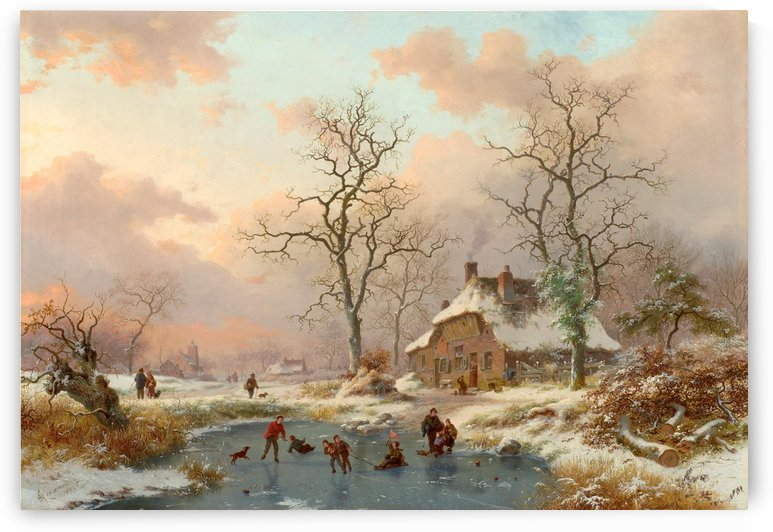 Winter landscape with figures on the frozen lake by Frederik Marinus Kruseman