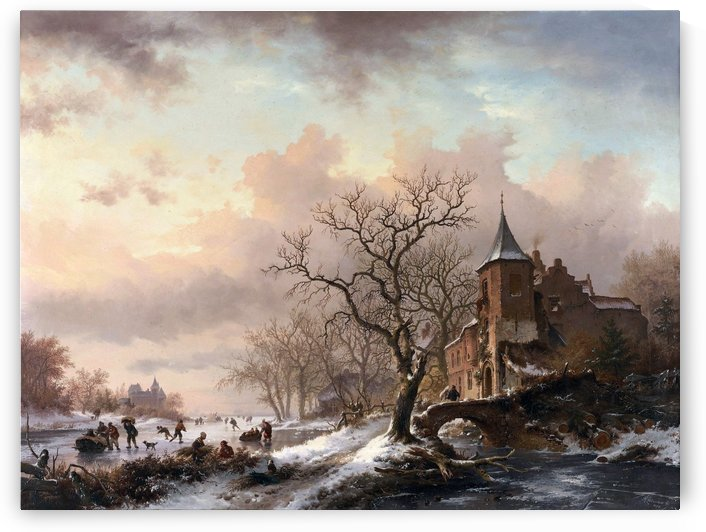 Castle in a Winter Landscape and Skaters on a Fozen River by Frederik Marinus Kruseman