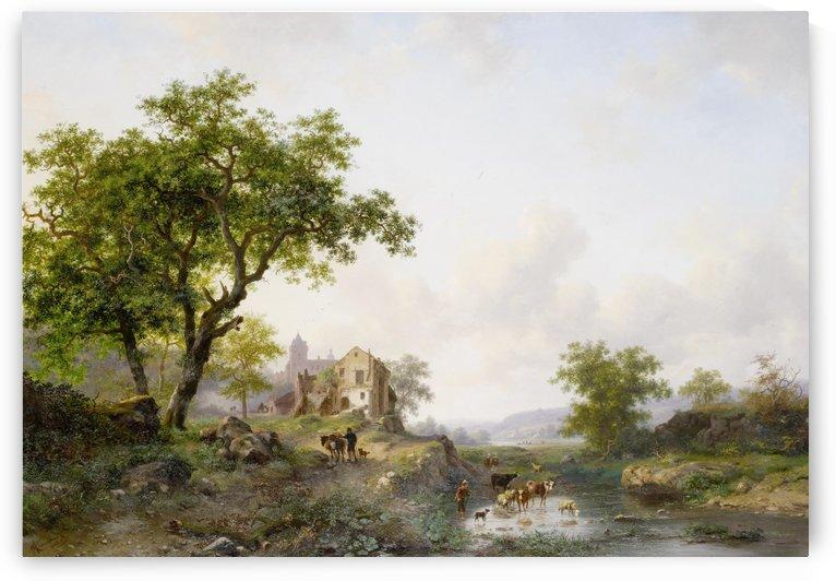 Zomer landschap met vee in de buurt van een rivier by Frederik Marinus Kruseman