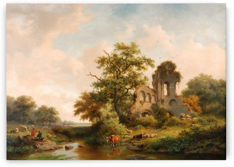 Fantasielandschap met ruine by Frederik Marinus Kruseman