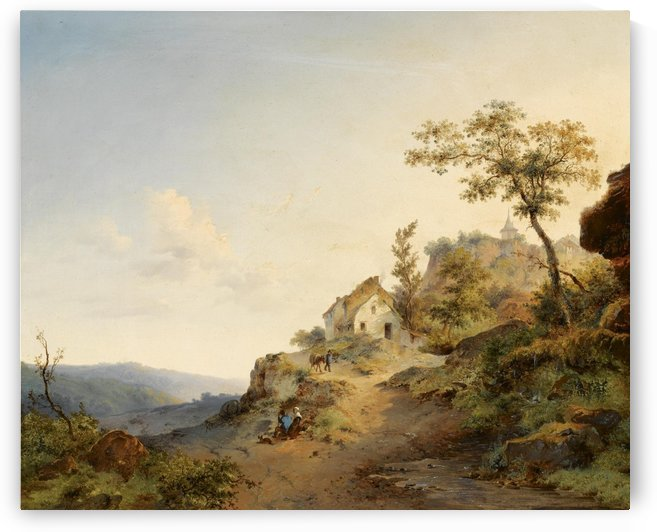 Travellers in a Mountainous Landscape by Frederik Marinus Kruseman