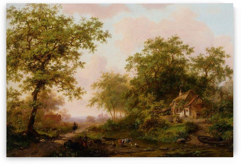 Cattle in Summer Landscape by Frederik Marinus Kruseman