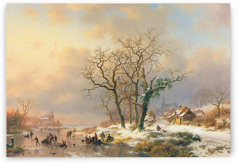 Winter landscape with figures on a frozen lake by Frederik Marinus Kruseman
