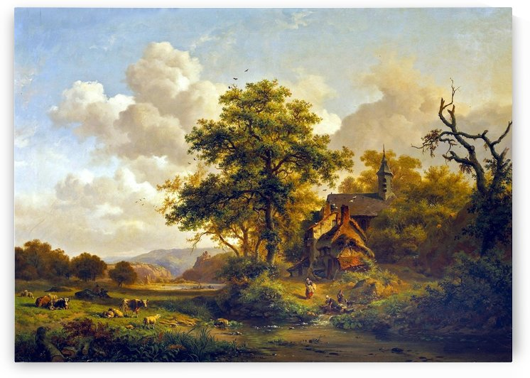 A Tranquil Landscape with Women Washing by a Stream and Cattle and Sheep Resting by Frederik Marinus Kruseman