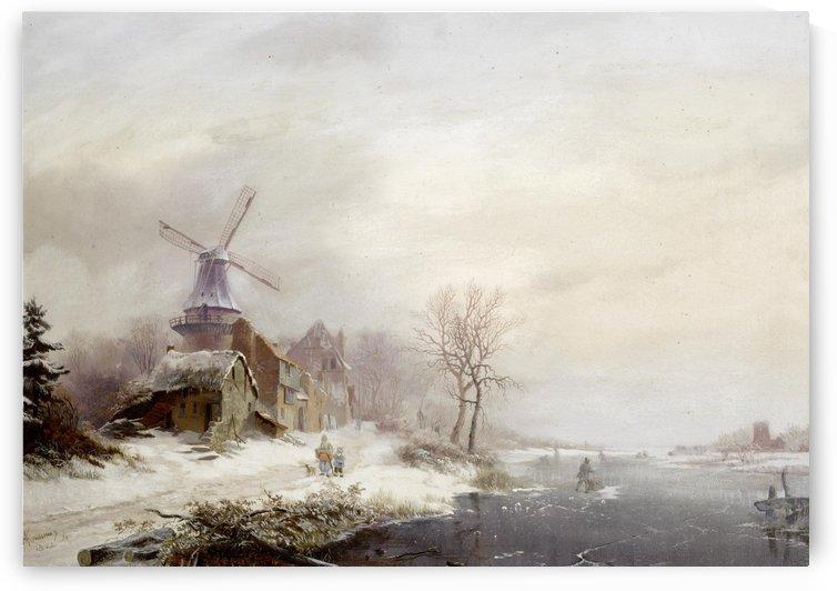 Winter landschap met gehucht, windmolen en figuren by Frederik Marinus Kruseman