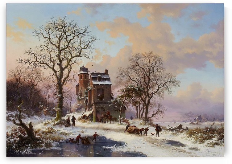 A Dutch Winter Landscape by Frederik Marinus Kruseman