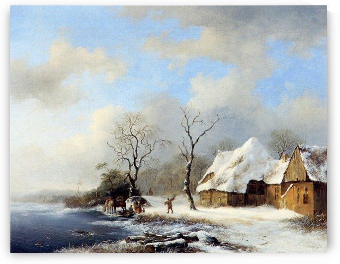 Winterlandscape Sun by Frederik Marinus Kruseman