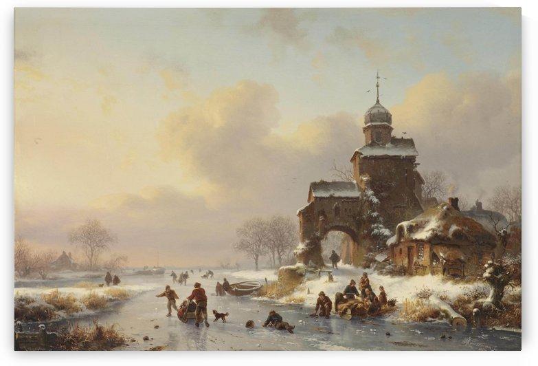 Skaters on a frozen waterway near a castle by Frederik Marinus Kruseman